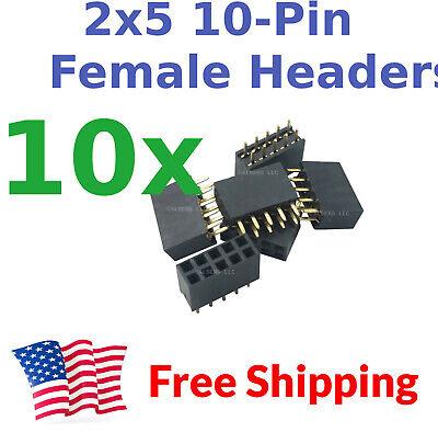 10pcs 2.54mm Pitch 0.1 0.1 2x5 10 Pin 10p Female Dupont Header Through Hole Usa