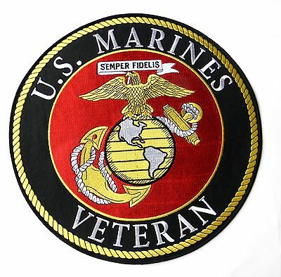 USMC MARINE CORPS MARINES VETERAN LARGE QUALITY EMBROIDERED PATCH 12 INCHES