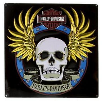 """Harley-Davidson® Bar & Shield Spade Skull Metal Tin Sign 2010751 (14.5""""x14.5"""")"""