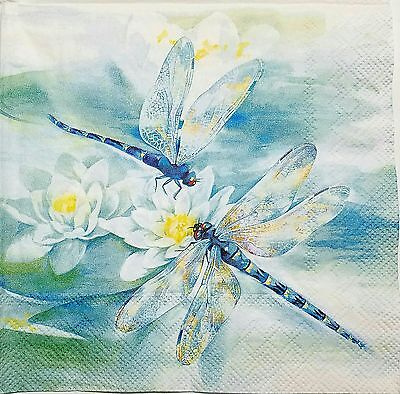 DRAGONFLY VINTAGE 2 individual LUNCH SIZE paper napkins for decoupage 3-ply