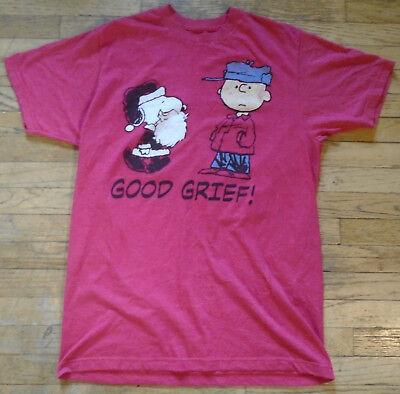 Peanuts Snoopy as Santa & Charlie Brown Christmas theme T-Shirt Medium (Charlie Brown Christmas Theme)