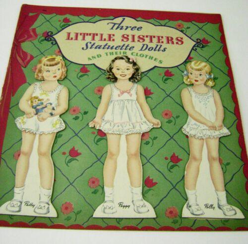 VTG PAPER DOLLS 1943 THREE LITTLE SISTERS HILDA MILOCHE WHITMAN UNCUT RARE!!!