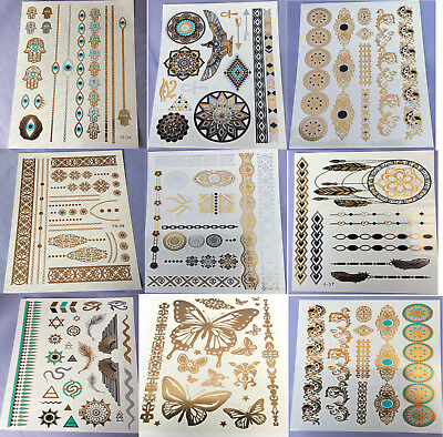 9 Sheets Temporary Disposable Metallic Tattoo Gold Silver Black Flash Tattoos