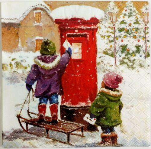 CHRISTMAS WINTER CHILDREN 2 single LUNCH SIZE paper napkins