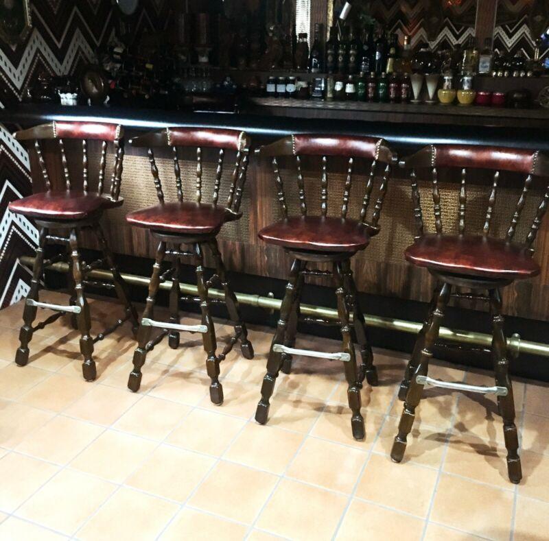 [4 PCS] Vintage Victorian Style Dark Brown Wood Leather Seat Bar Stools