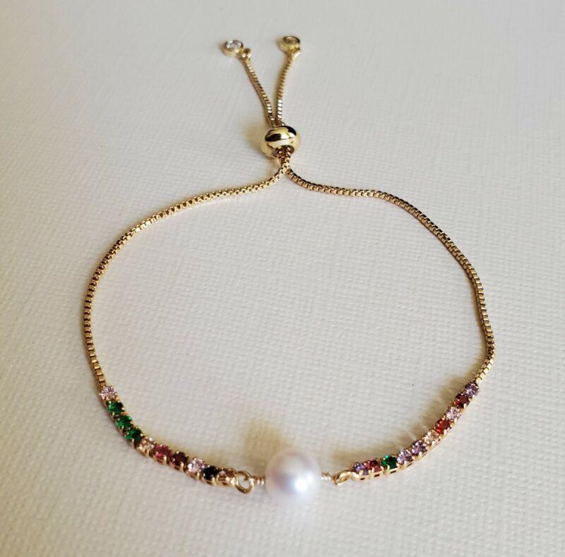 Single White Pearl Adjustable Bracelet 14K Yellow Gold Filled Dainty Bracelet