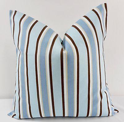 Blue & Brown Stripe Pillow cover. Morgan Mist   Print Cover . Cotton.Select size Brown Striped Pillow
