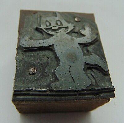 Vintage Printing Letterpress Printers Block Cat Rough Shape