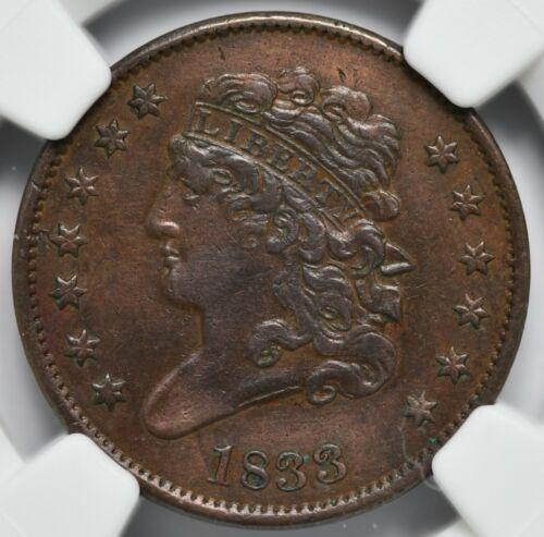 1833 Classic Head Half Cent 1/2 C-1 NGC XF Details