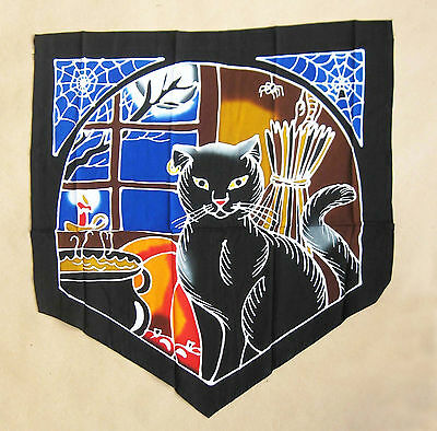 "NEW Halloween Black Cat Flag 20"" Fabric Wall Hanging Banner Wicca Pagan Samhain"