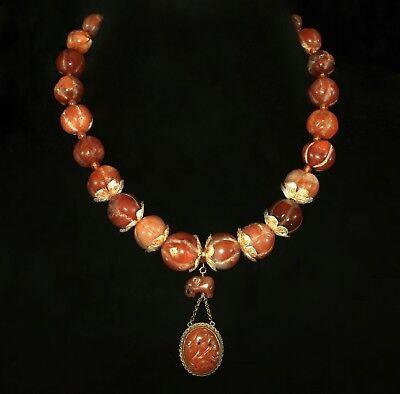 Vintage Antique Carved Carnelian Melon Necklace Elephant and Flower Pendant