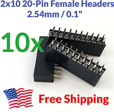 10pcs 2.54mm Pitch 0.1 0.1 2x10 20 Pin 20p Female Dupont Header Through Hole Us