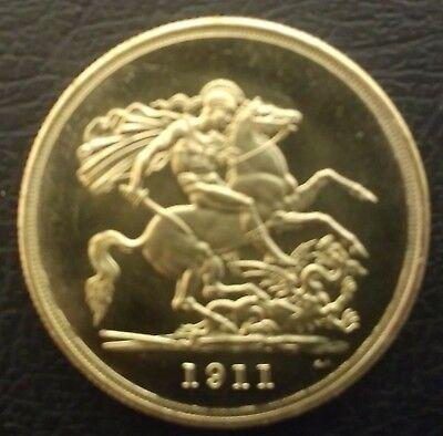 NICE RARE GEORGE V 1911 CORONATION £5 COIN IN UNC - RESTRIKE