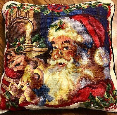 "Christmas Pillow Needlepoint Santa Bear Candle Light Throw Couch Velvet Back 14"""