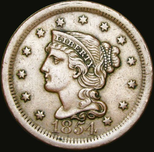1854 Braided Hair Large Cent --- STUNNING --- #X446