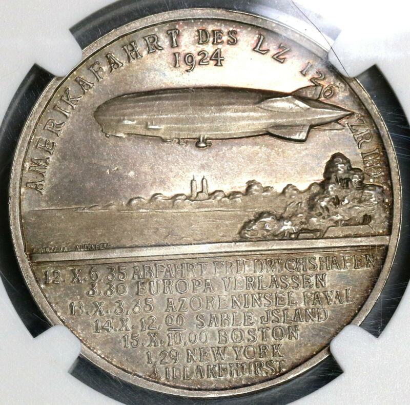 1924 NGC MS 63 Zeppelin World Tour USS Los Angeles Silver Medal (19082603C)