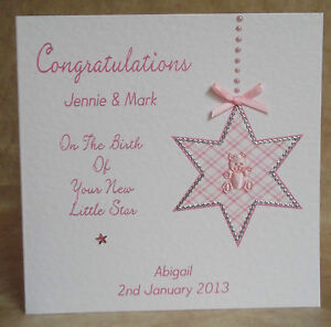 Handmade-Personalised-New-Baby-Card-Girl-or-Boy-Birth-Of-New-Little-Star