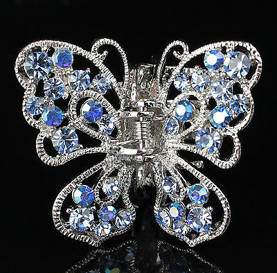Small Butterfly Blue Austrian Rhinestone crystal Hair Claw Clamp Barrette C838b