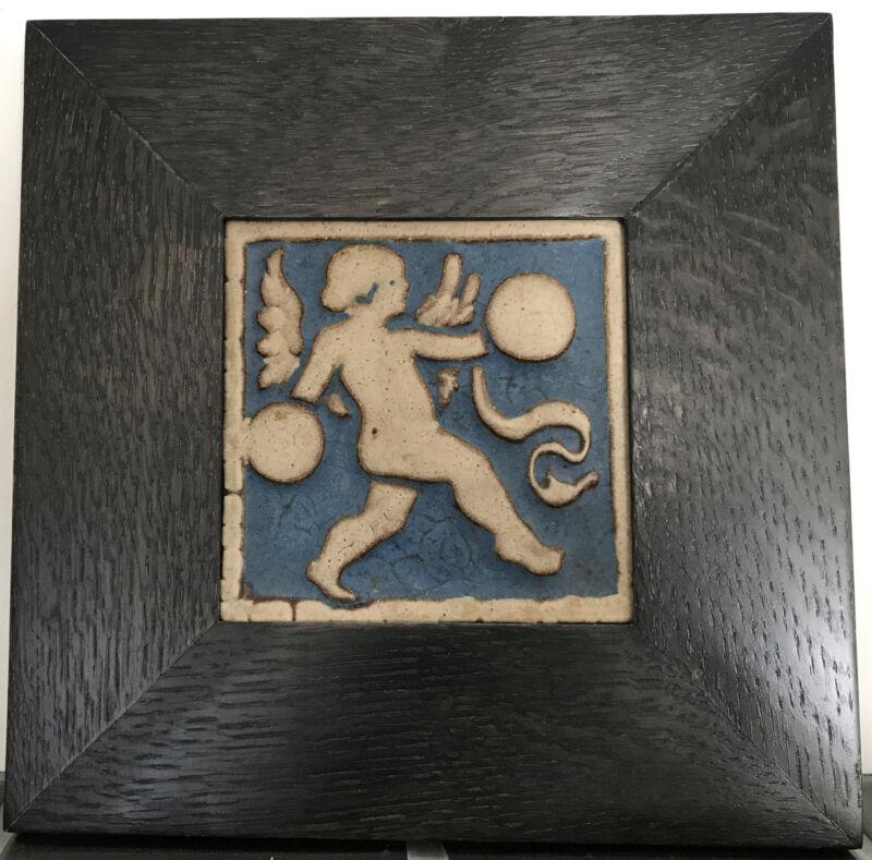 "Grueby Pottery Rare Blue Angel Tile Arts & Crafts Boston 6"" Framed"