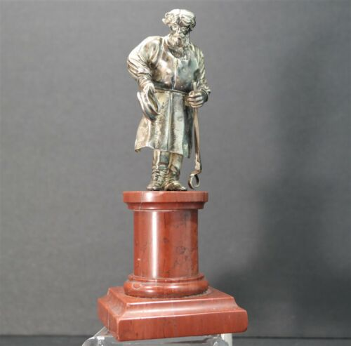 Russian 875 Standard Silver Figure of a Blacksmith on Rouge Marble w/Iron Tongs