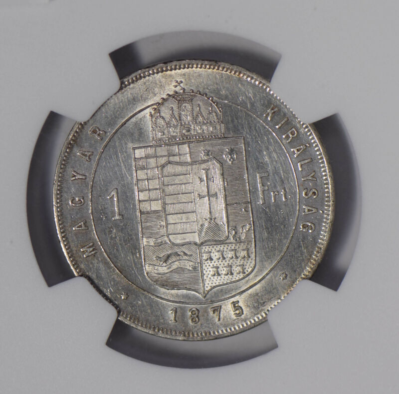 Hungary 1875 KB Forint silver NGC UNC NG0672 combine shipping