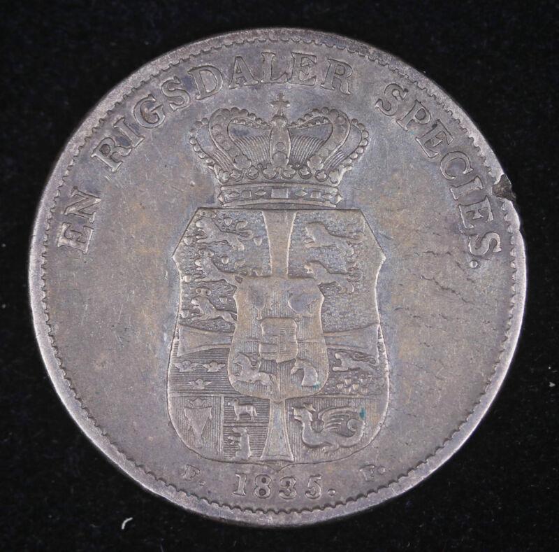 1835 FF Denmark 1 Rigsdaler Silver Coin Very Fine++ #FC1205