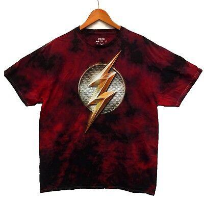DC Comics Men's Flash Logo Red Tie Dye Licensed T-Shirt Size XL New (Cheap Tie Dye Shirts)