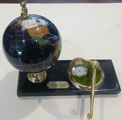 Executive Quartz Clock Globe Pen Holder Desk Set