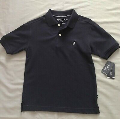 New with Tag Nautica Polo Shirt Boys Navy Blue, Size 8 Retail $29.50