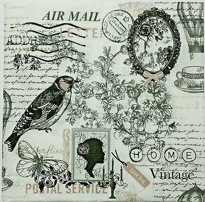 VINTAGE POSTAL COLLAGE  2 single LUNCH SIZE  paper napkins for decoupage 3-ply