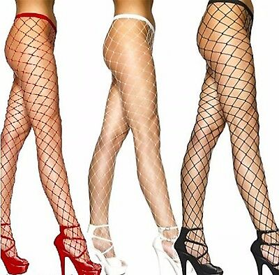 Women's Ladies  Whale Fishnet Tights Large Net Colours White ,Black, Red ](Red And White Tights)