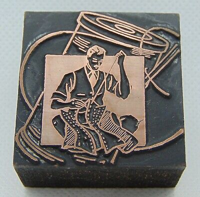 Vintage Printing Letterpress Printers Block Man Sewing By Hand Thread