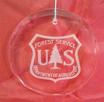 USFS Forest Service Dept of Agriculture Beveled Crystal Ornament Blue Gift Box
