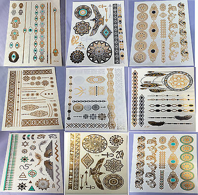 9 Sheets Temporary Disposable Metallic Tattoo Gold Silver Black Flash Tattoos on Rummage