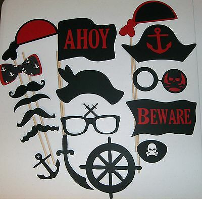 17 pcs DIY-Photo Booth Props Mustache on a stick Pirates (2055D) - Pirate Photo Booth Props