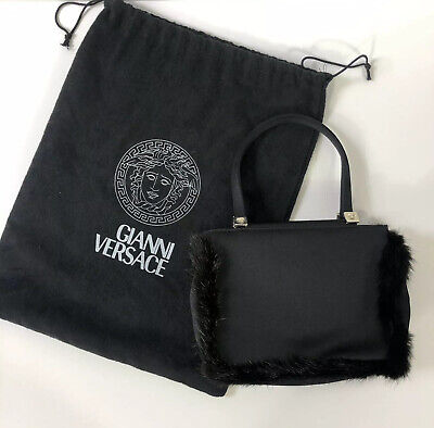 Rare Vtg Gianni Versace Black Late 90s Silk Fur Trimmed Mini Medusa Handle Bag