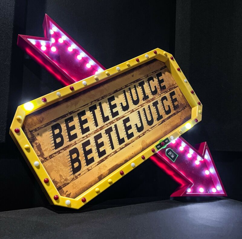 Beetlejuice LED Light Up Marquee Sign Decoration Spirit Halloween Sold out!