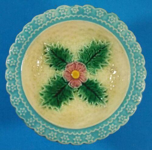 "Sweet Antique Majolica 5 1/2"" Dish Wild Rose Over Basket Weave Scalloped Rim"