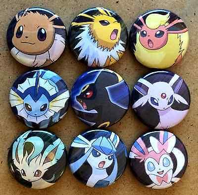 """Set of 9 1"""" Pokemon Eevee Eeveelutions Button Pinbacks"""