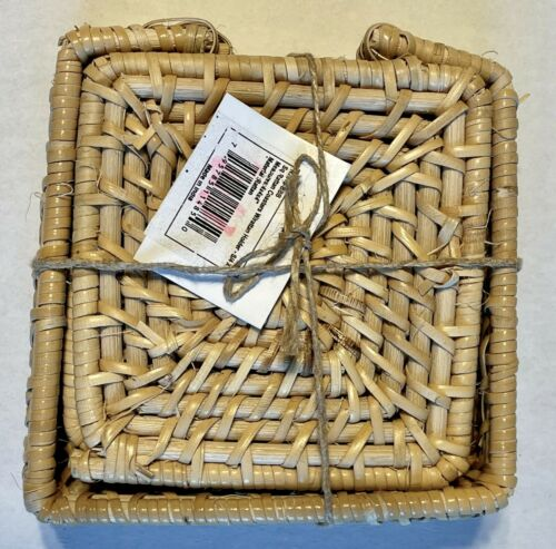 Wicker Rattan Set Of Four Drink Coasters With Caddy; New