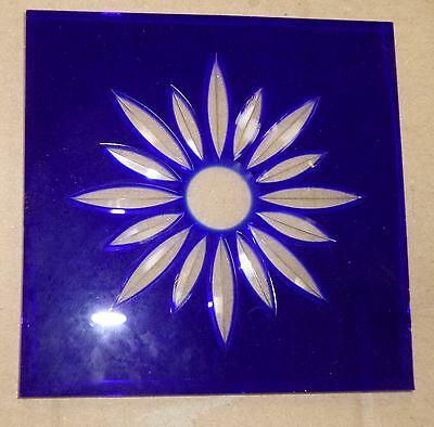 "Starburst blue glass corner pieces for Bristol door 4"" square, new"
