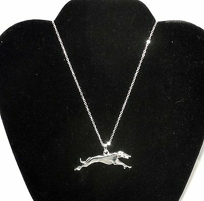 Silver Plated Pendant Necklace with Running Greyhound or Whippet