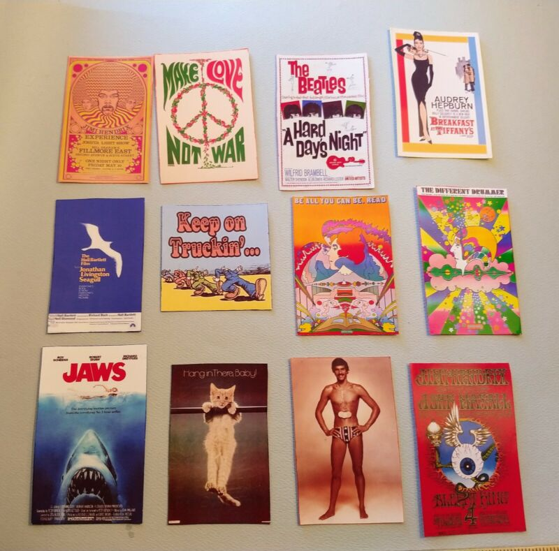 Dollhouse Miniature Set of 12 Vintage Posters from the 60