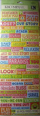Paradise Embossed Sticker (NEW 65 pc CITRONELLA WORD EMBOSSED STICKERS Journey Paradise Summer Fun K & CO )
