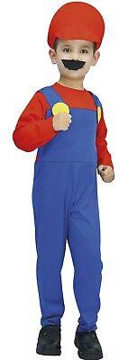 Kostüm Junge Klempner Rot Blau Kind 7/8/9 Jahren Spiele Mario Luigi - Luigi Kostüm Junge