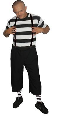 Mens Black & White Pugsley The Addams Family Halloween Fancy Dress Costume - Pugsley Costume