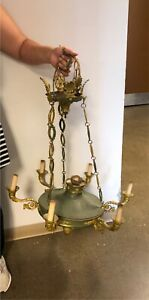Antique French empire green chandelier