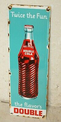 DOUBLE COLA PORCELAIN ENAMEL SIGNS VINTAGE STYLE COUNTRY STORE ADVERTISING