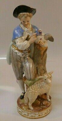 Antique Meissen Porcelain Boy W/ Messenger Pigeon & Sheep Figurine - 7 5/8