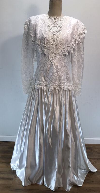Vintage Jessica McClintock Bridal White Wedding Dress Womens Size 16 Long Sleeve
